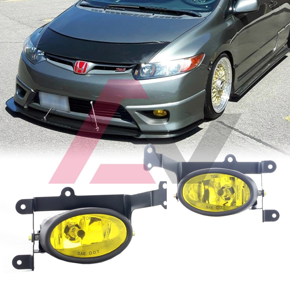 medium resolution of details about for honda civic coupe 06 08 yellow lens pair bumper fog light wiring switch kit