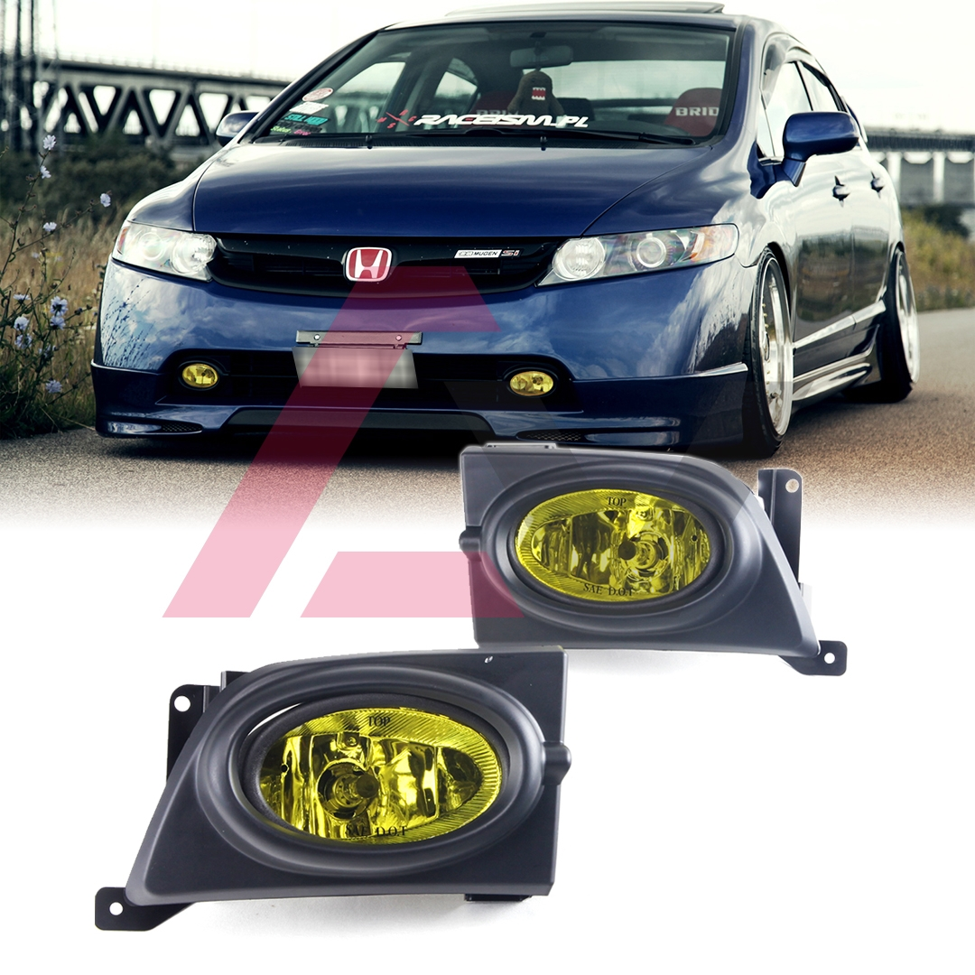 hight resolution of details about for sedan civic 06 08 yellow lens pair bumper fog light lamp wiring switch kit