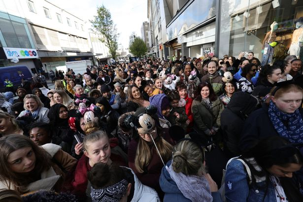 Crowds gather ahead of the opening of the world's largest Primark store