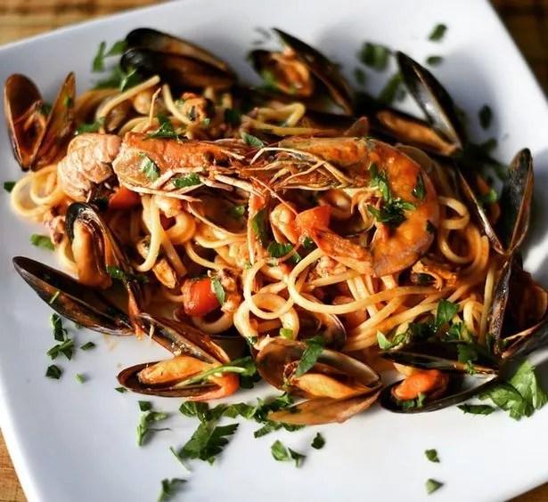 Seafood linguine at Laghi's Deli