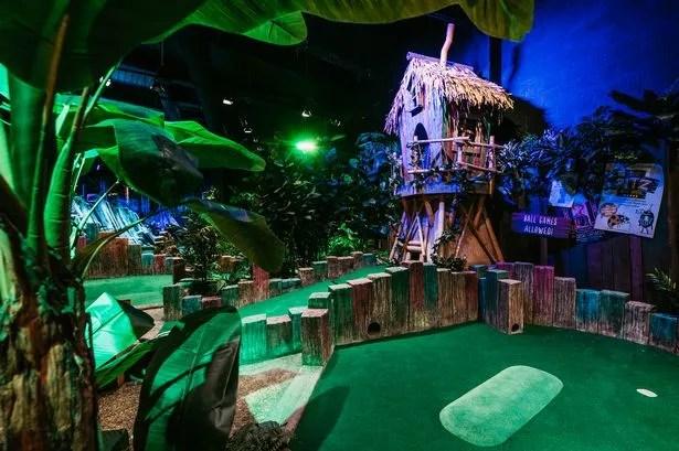Inside Treetop Adventure Golf in Birmingham's Bullring