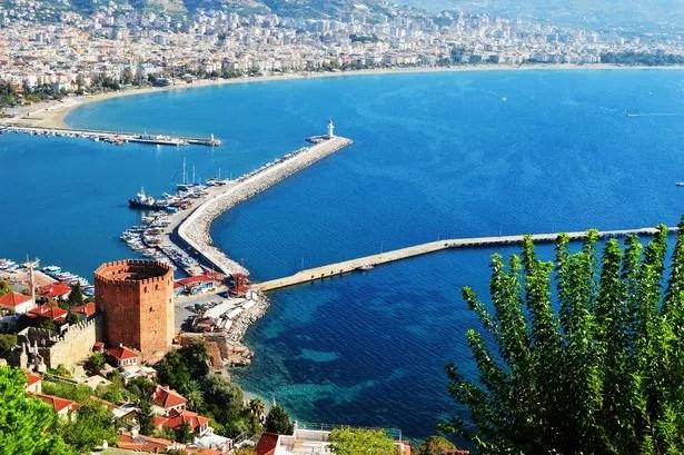 View of the port of Alanya under the Alanya peninsula. Turkish Riviera