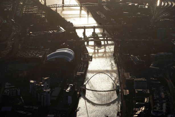 An aerial view of the River Tyne and bridges