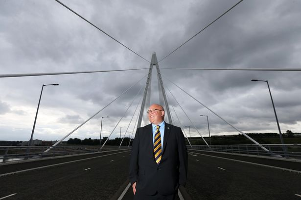 Leader of Sunderland City Council, Coun Graeme Miller at the official opening of the Northern Spire bridge in Sunderland