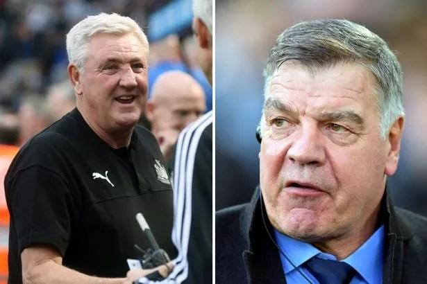 Steve Bruce (left), manager of Newcastle United; and former England and Everton manager Sam Allardyce