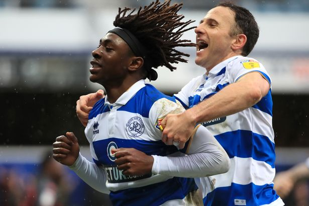 Eberechi Eze of Queens Park Rangers celebrates after scoring his team's second goal during the Sky Bet Championship match between Queens Park Rangers and Stoke City at the Kiyan Prince Foundation Stadium