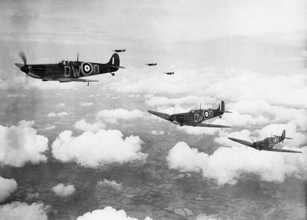 RAF Spitfire fighter planes in formation during the Battle of Britain, 1940