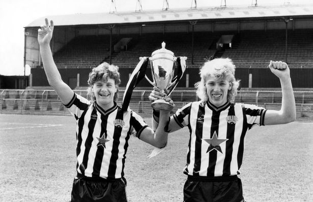 Joe Allon and Paul Gascoigne holding the FA Youth Cup. in 1985