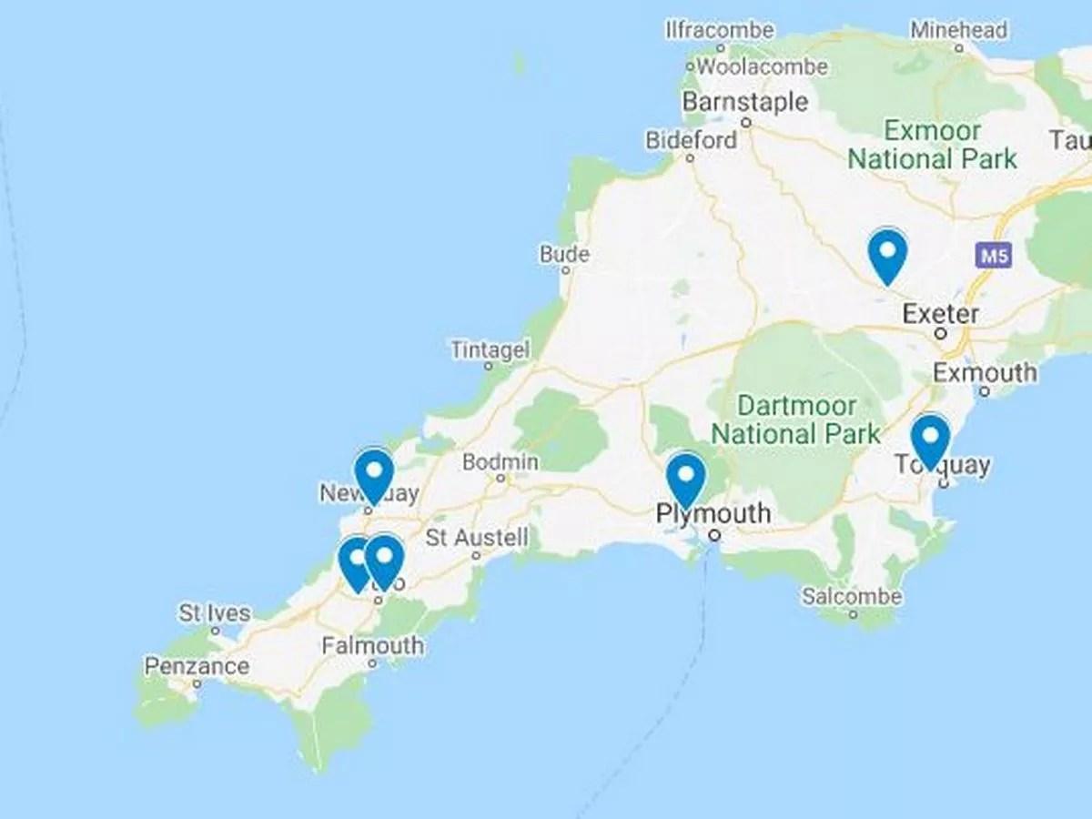 Coronavirus map shows schools and GP surgeries disrupted in Devon ...