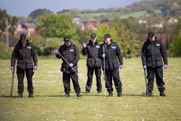 Devon and Cornwall police's search officers demonstrate how they carry out a search (Image: Frankie Mills)