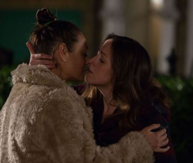 Eastenders Sonia And Tina Embrace In A Passionate Kiss On The Square Image Bbc