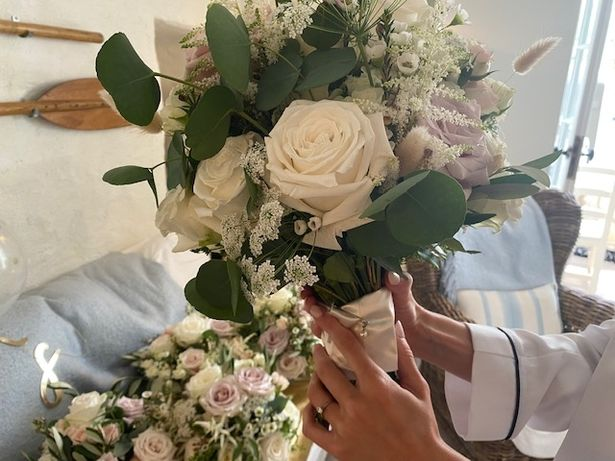 Part of Netta's dress was incorporated into Rachel's granddaughter-in-law's bouquet