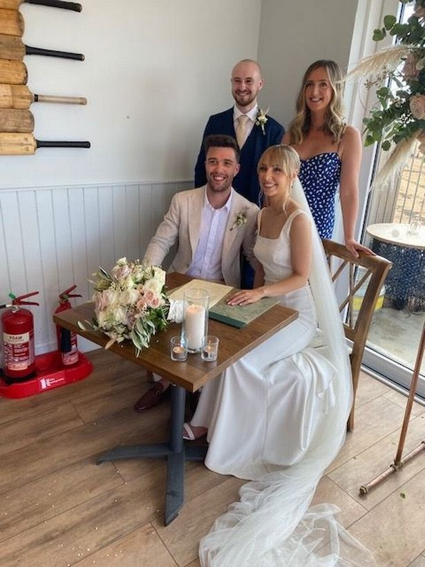 Netta's grandson Laurence and wife Rachel on their big day