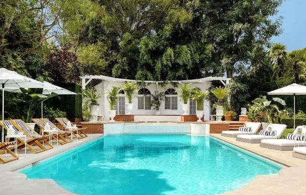 There's a huge swimming pool in the garden too