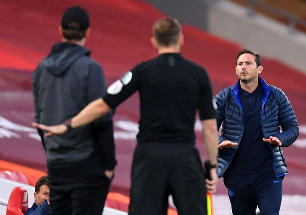 Frank Lampard and Jurgen Klopp clashed at Anfield