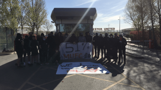Supporters appeared with banners to protest the Glazer family's ownership of the club