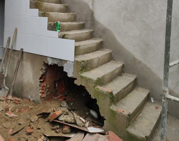 Smashed in staircase