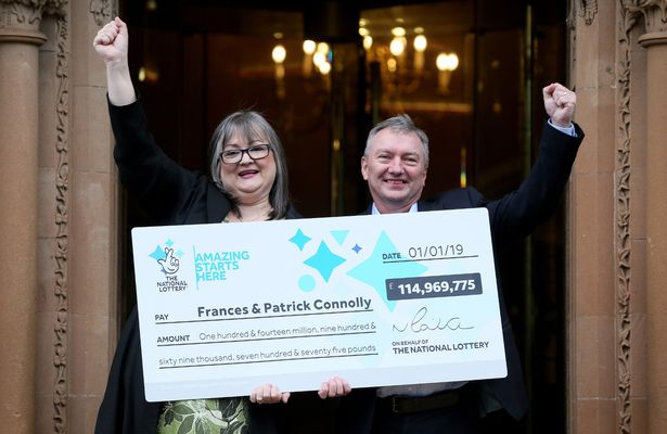 EuroMillions winners Patrick and Francis Connolly celebrate scooping a jackpot of almost £115 million