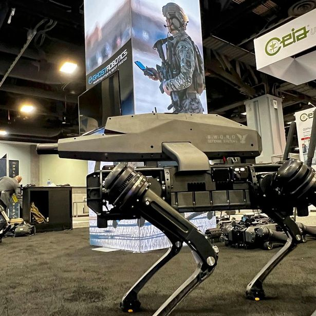 The SPUR robot dog sees a high-powered sniper rifle attached to a 'quadruped' android