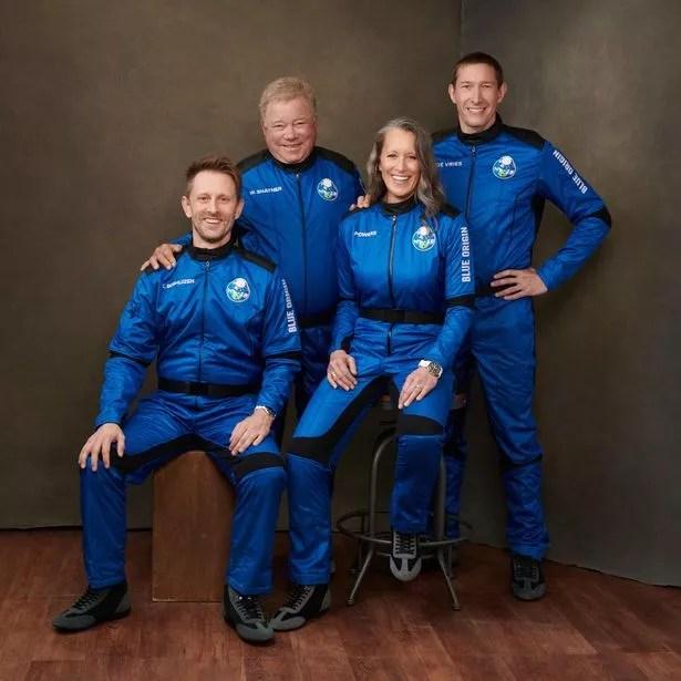The crew of today's Blue Origin spaceflight. Right to left: Glen de Vries, Audrey Powers, William Shatner and Chris Boshuizen.