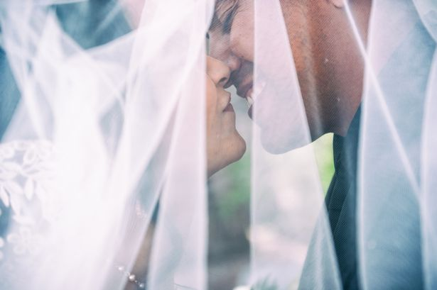 Romance, love and happiness under a wedding veil
