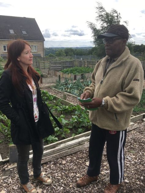 Debby Fulgoni and Isaac Romain , plot holders on the Cemetery Road Allotments, which are under threat from building proposals