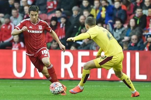 Carlos de Pena in action for Boro against Burnley