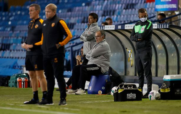 Marcelo Bielsa, manager of Leeds United looks on during the Carabao Cup second round match against Hull City at Elland Road
