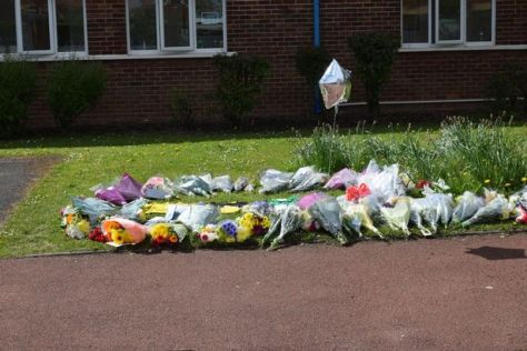Flowers laid outside Stanley Primary School