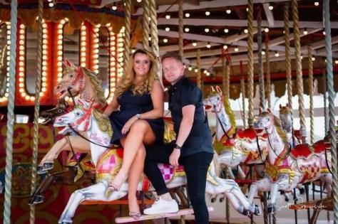 Theme park enthusiast couple Emma and Shane during their pre-wedding photoshoot at Blackpool Pleasure Beach