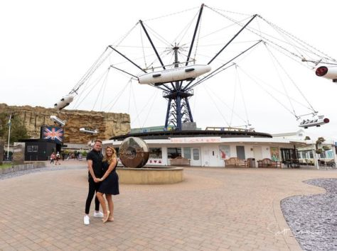 Emma and Shane pictured at Blackpool Pleasure Beach during pre-wedding photoshoot