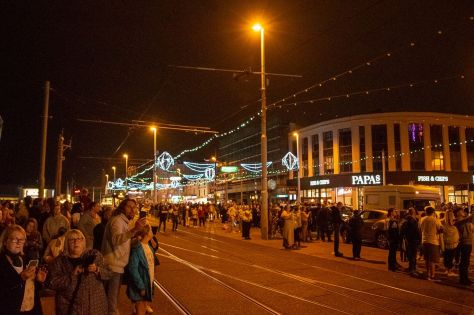 Crowds waiting for the illuminations to be switched on