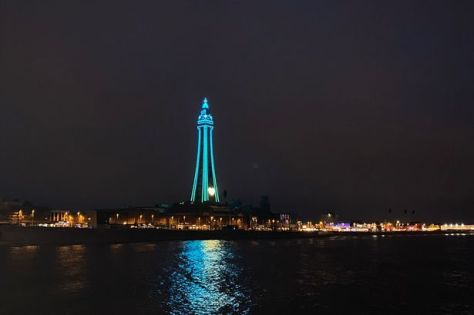The Blackpool Tower lit up
