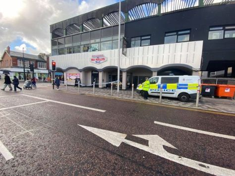 Police at the scene outside Ma Kelly's on Talbot Road in Blackpool