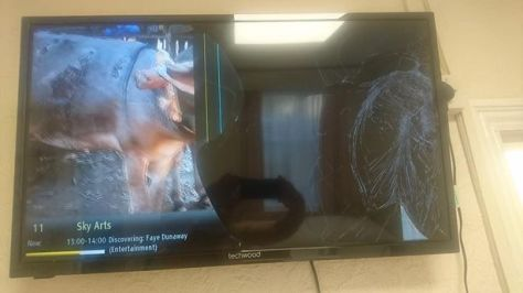 Smashed television after couple had an argument