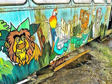 Blackpool Zoo artwork on the side of a vintage tram