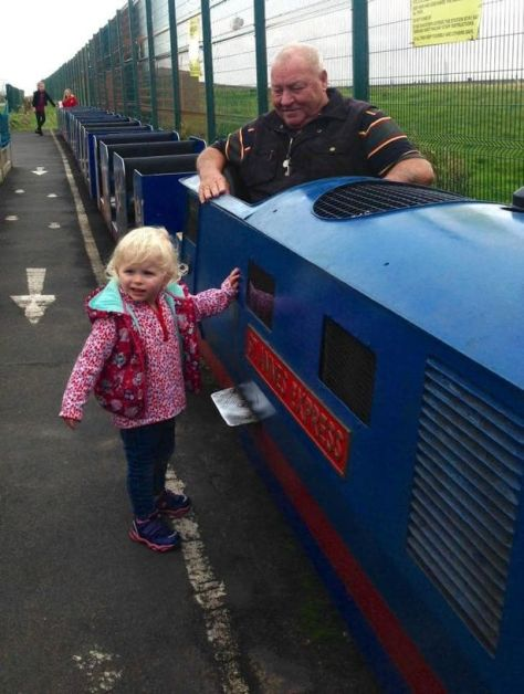 Stuart Mann with his daughter almost over 40 years later in 2017 at St Anne's Miniature railway