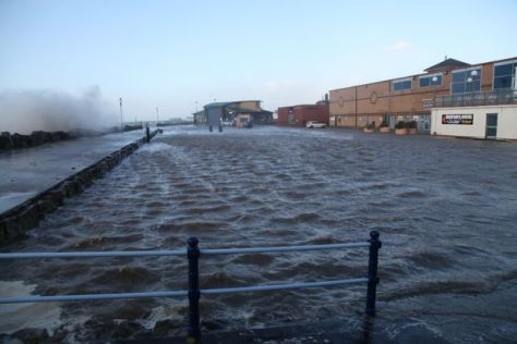Flooding over the sea wall at St Annres Lytham