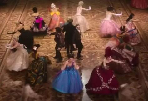 Hollywood actors on the mahogany, oak and walnut dancefloor of Blackpool Tower ballroom