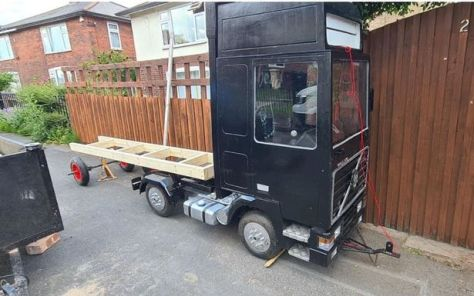 Phil Frain from Bolton constructed the mini artic 'Motorhead' truck in his front garden