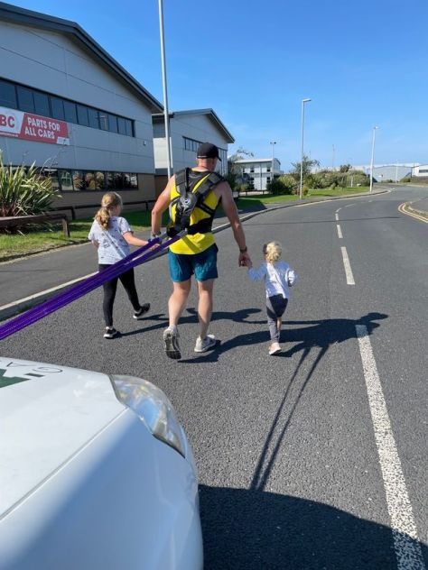 James was joined by his wife and two children last week on a practise truck pull
