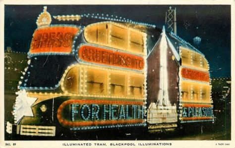 "The elaborate ""double decker"" Progress Tram used to advertise on Blackpool Promenade"