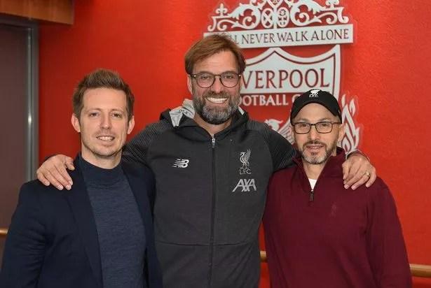 Jurgen Klopp with Michael Edwards and Mike Gordon