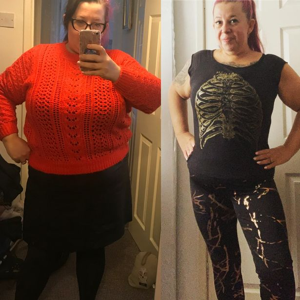 Amanda pictured before and after her incredible weight loss