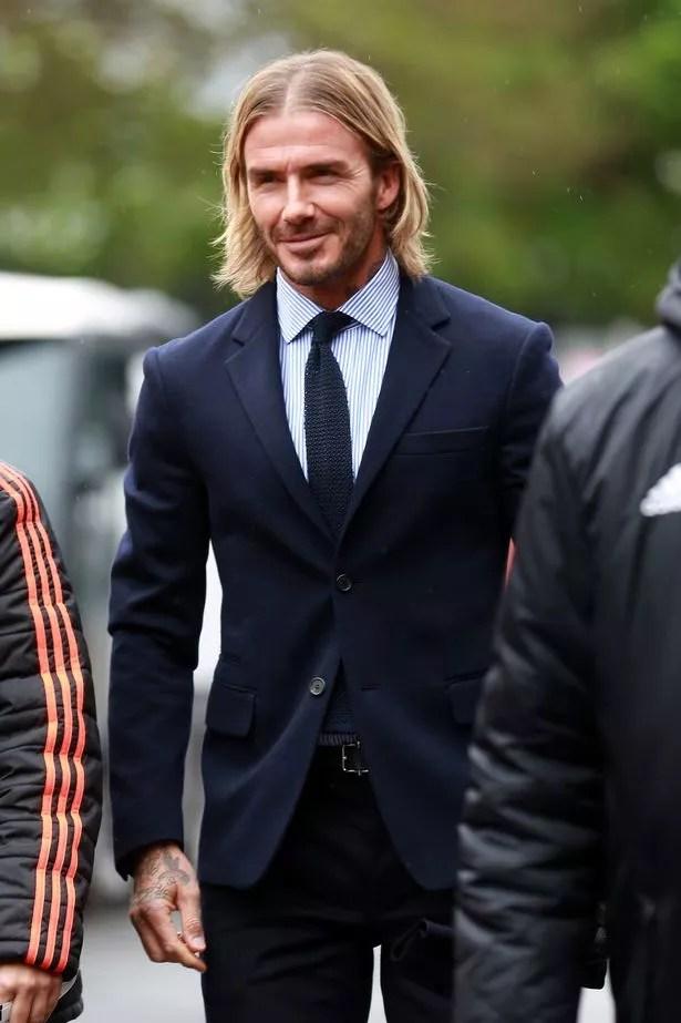 David Beckham Sports New Beachy Blonde Hairdo As He Heads