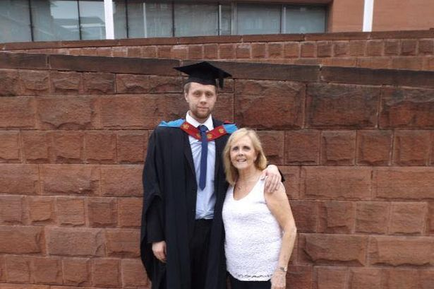 Linda with her eldest son Rob, 28, who believes he contracted a coronavirus after returning from Krakow