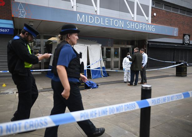 A large area of the shopping centre was cordoned off