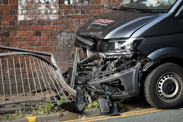 A van crashed into a wagon on Park Road on Monday afternoon.