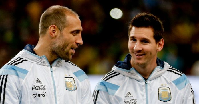 Image result for Zabaleta and Messi