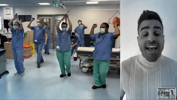 Dr. Ranj Singh in the video for the charity single Lean On Me for the NHS